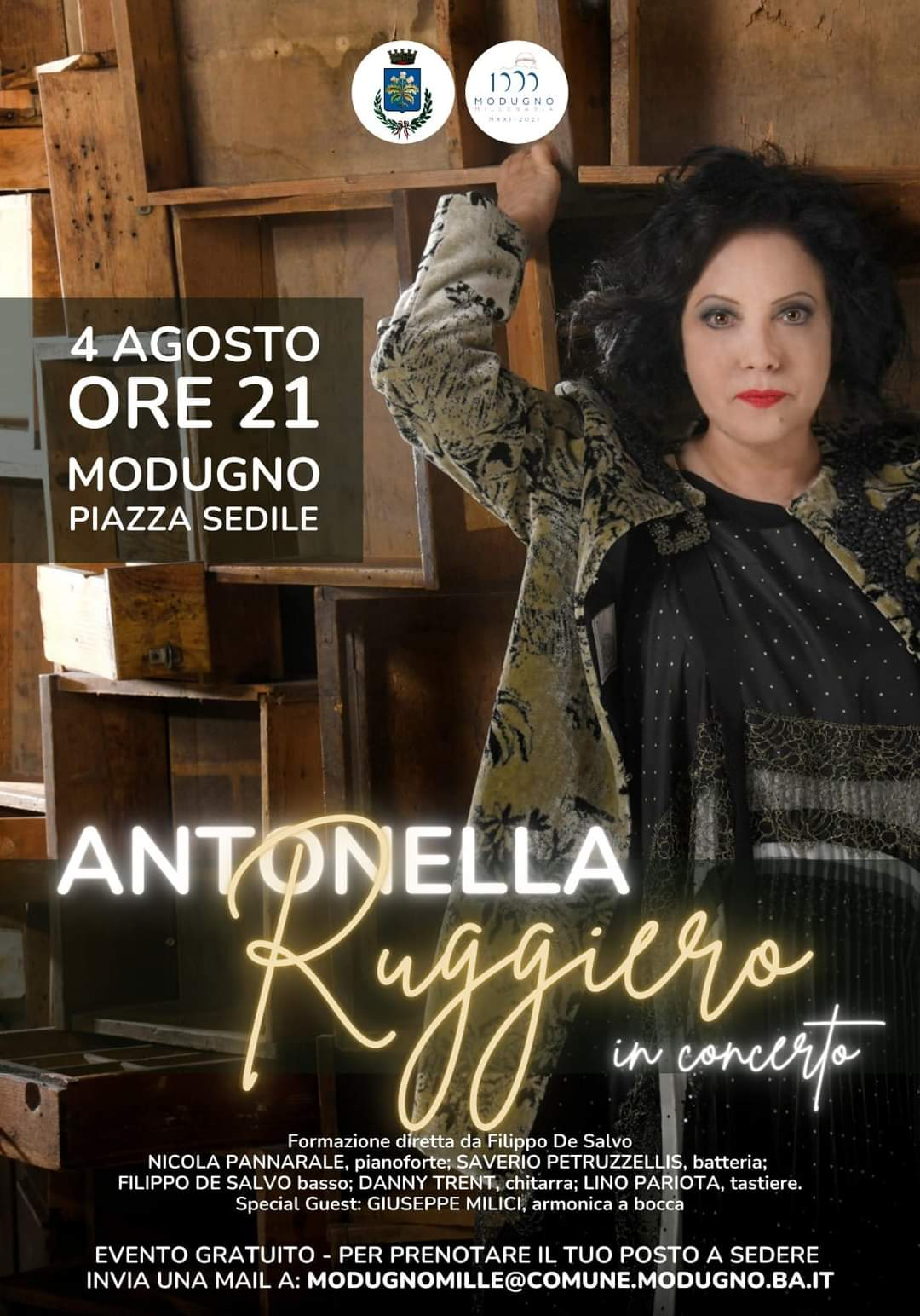 Modugno: mercoledì 4 agosto 2021 Antonella Ruggiero in Concerto